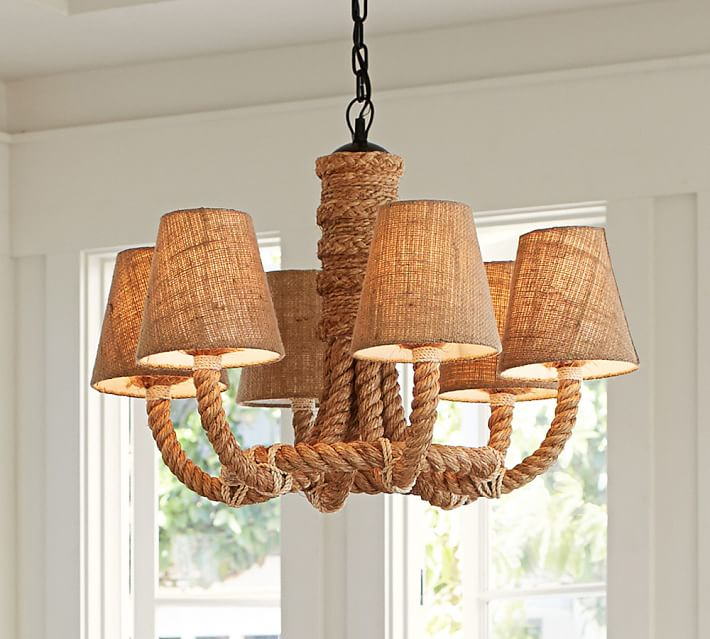 Pottery Barn Inspired Rope Wrapped Chandelier