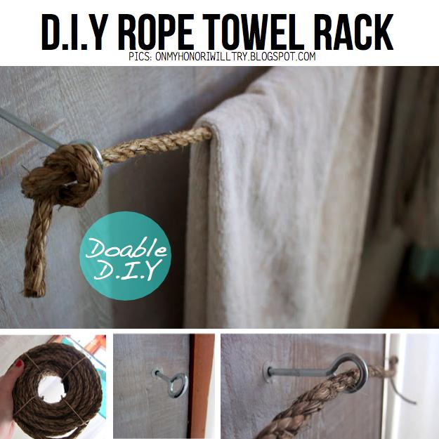 DIY Simple Rope Towel Rack