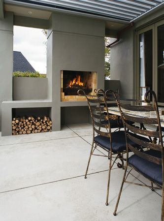Fireplace!! Very cool idea to create an outdoor room if you have a large space outside: