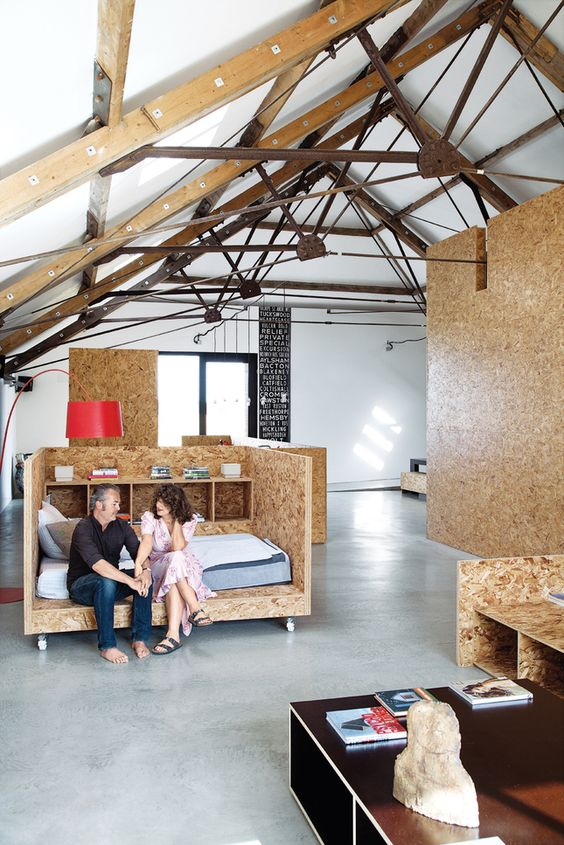 I'm thinking about building some new #furniture. This OSD concept is a stunning inspiration, although I usually dislike OSD: ochre barn bedroom customized OSB furniture: