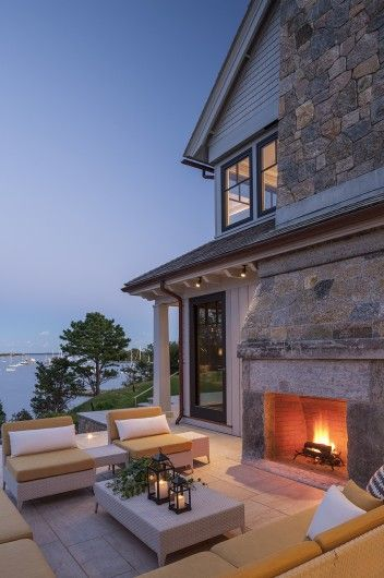 Outdoor dining and fireplace idea.: