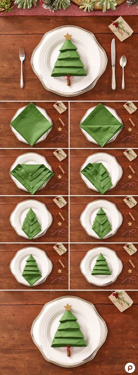 Christmas Tree Napkins: Turn a green napkin into a lovely Christmas craft with this linen-folding how-to.: