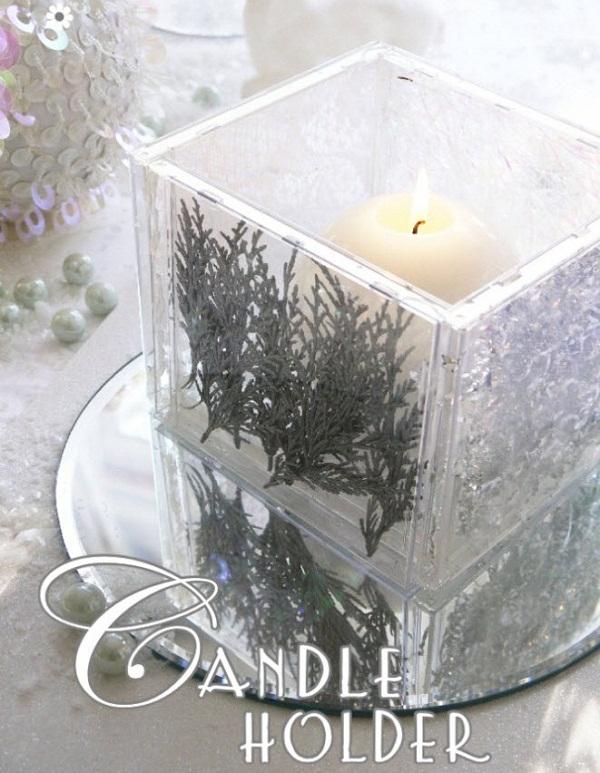 festive cd case candle holder