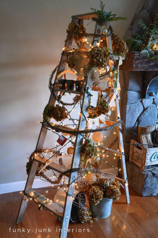 Funky Junk Christmas ladder tree