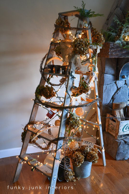 Funky Junk Christmas ladder tree