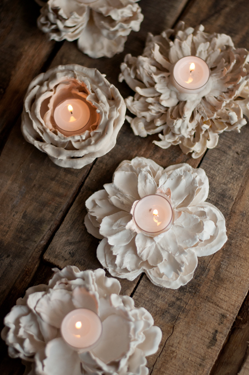 plaster dipped flower votives