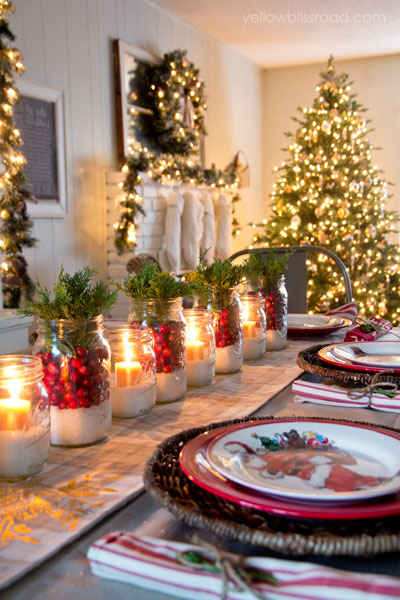 To craft the centerpieces for her dining room table, blogger Kristin Bergthold used cranberries, juniper, and a layer of Epsom salt.