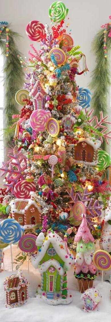 Whimsical Lollipop Christmas Tree filled with candy decor: