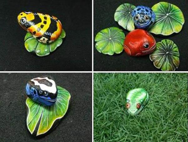 bug painting on rocks