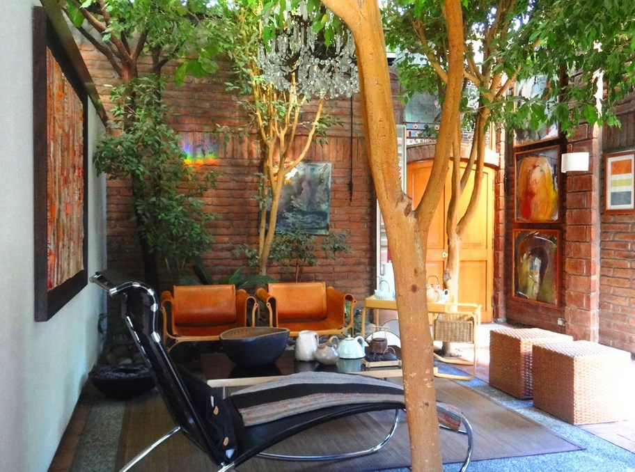 Interior patio with indoor trees