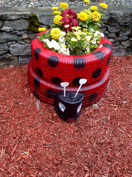 Lady bug tire planter!!: