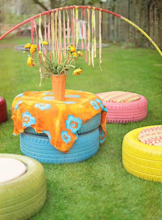 Makkie: painted tires for outdoor furniture: