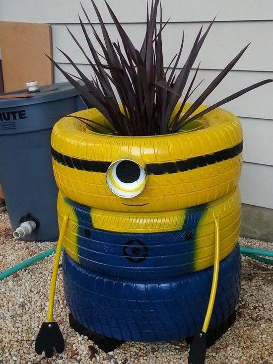 Minion Tire Planter Fun for playground.: