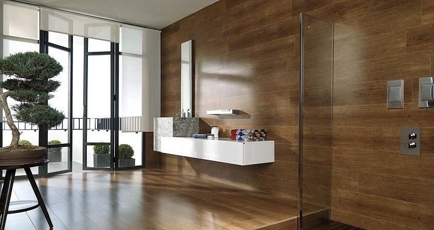Modern bathroom with an indoor bonsai tree