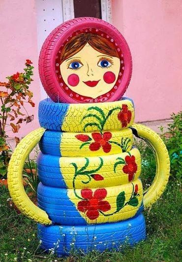 used tires recycled to make cute lawn ornament: