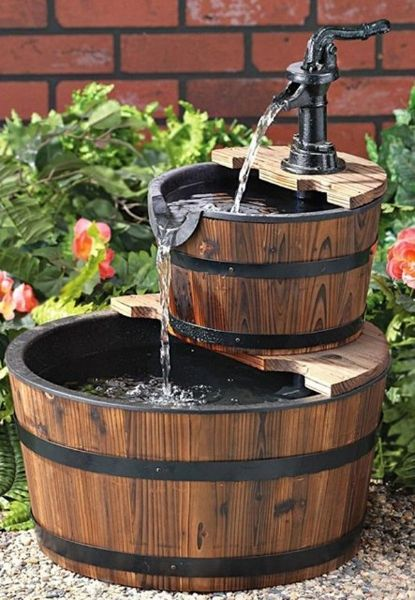 Creative Ways Of Using Barrels In Home Decor! Fountain: