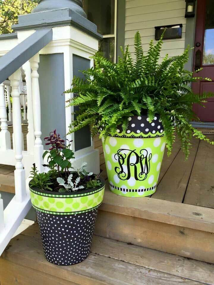 Painted Monogram Porch Planter Duo