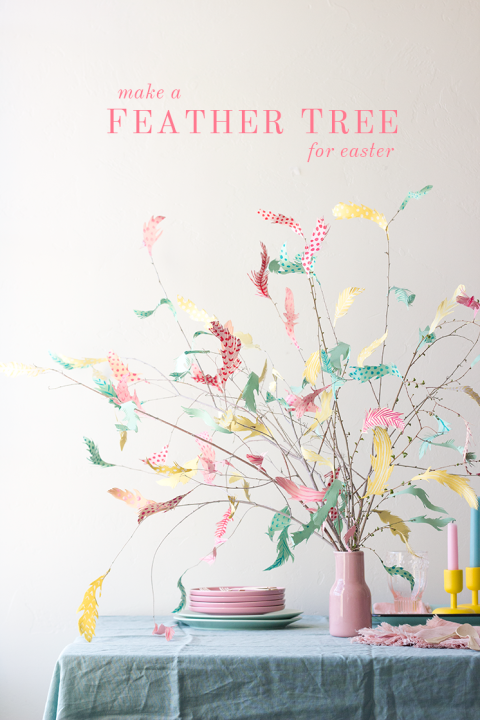 This modern take on the traditional Swedish Påskris — or feather tree — uses pastel scrapbook paper instead of real feathers. Get the tutorial at The House That Lars Built »
