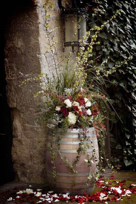 Wine barrels in the garden: