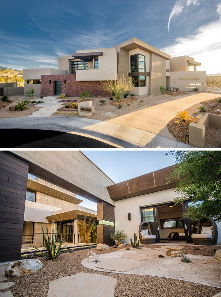 11 Inspirational Rock Gardens To Get You Planning Your Garden // This Las Vegas home has no grass but instead has a number of plants scattered throughout the rocks, all drought resistant and and very low maintenance.
