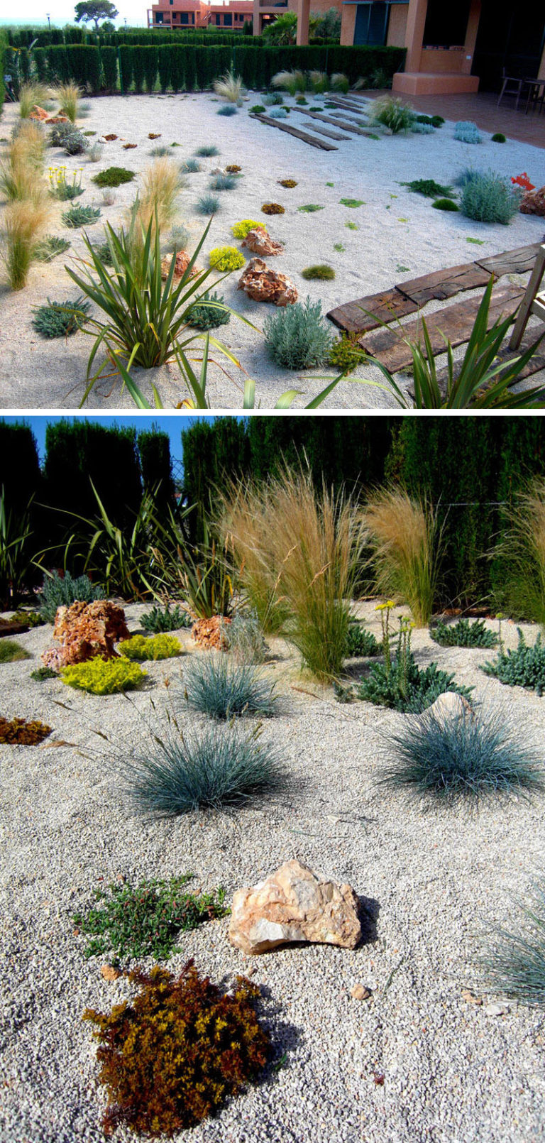11 Inspirational Rock Gardens To Get You Planning Your Garden // Although this backyard looks a little sparse right now, once the plants grow a bit, there will be less gravel and more plant life.