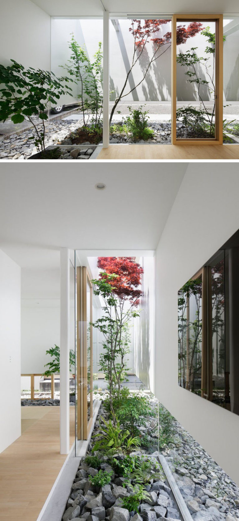 11 Inspirational Rock Gardens To Get You Planning Your Garden // This rock garden exists both inside and outside of this Japanese house.