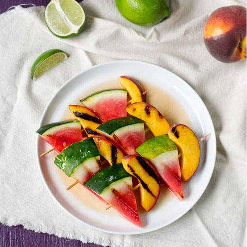 50+ Best Recipes for Fresh Watermelon - Grilled Watermelon and Peach Kebabs