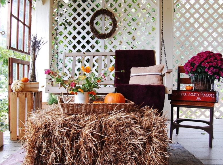 A small tray or a basket could be a great solution for a mobile fall display.