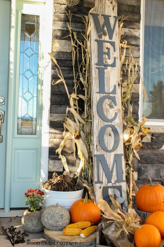 """An oversized """"welcome"""" sign would be a great addition to any front porch this fall."""