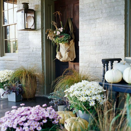 Decorating Ideas for the Font Entrance with an Autumn theme.