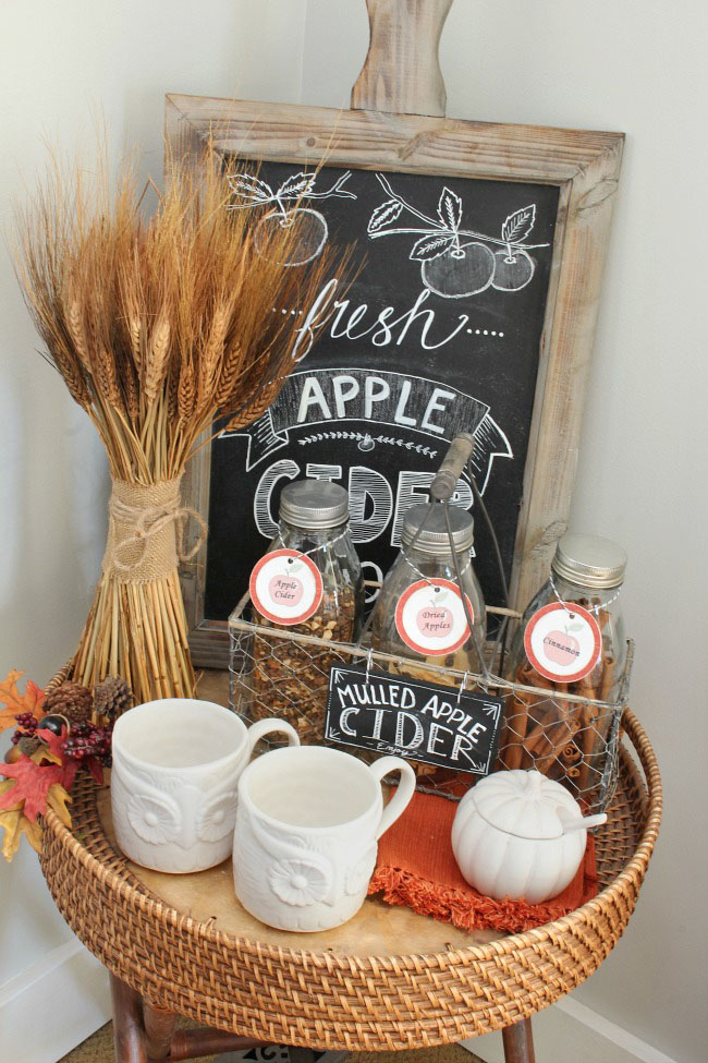 Lots of simple and inexpensive ideas to help you decorate your home for fall. Love this fall beverage bar!