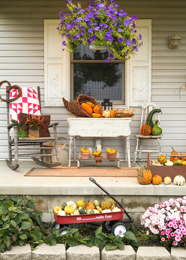Vintage cart is a great base for your pumpkins and gourds display.