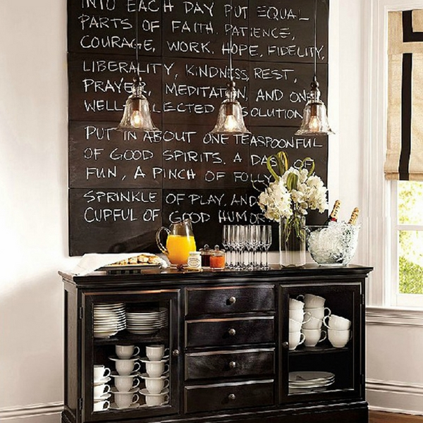 chalkboard accent wall pendant lights kitchen ideas