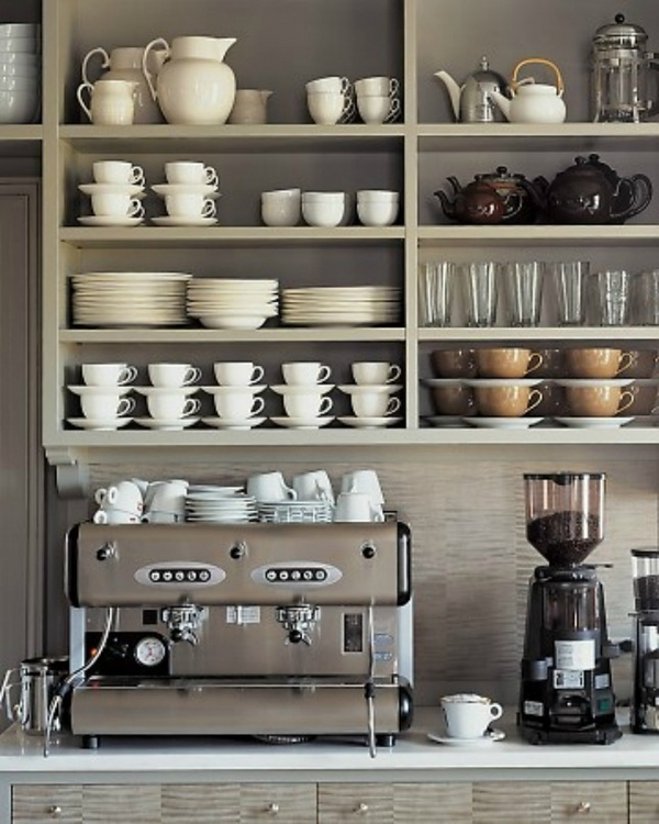 coffee bar ideas open shelves machine mugs
