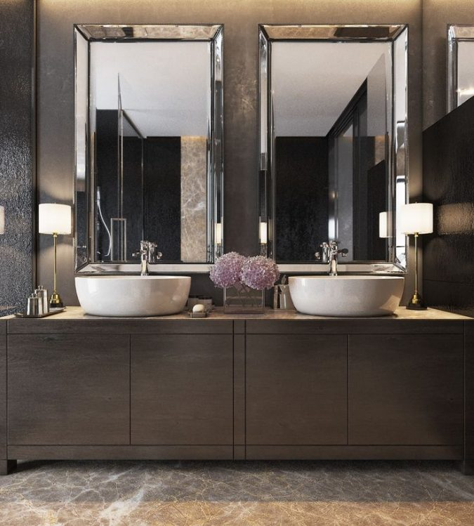 dark-bathroom-modern-decor-2-675x749 15+ Top Modern House Interior Designs for 2018!