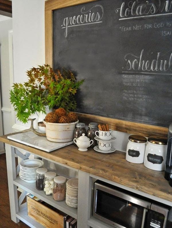 rustic style kitchen coffee bar chalkboard open cupboard