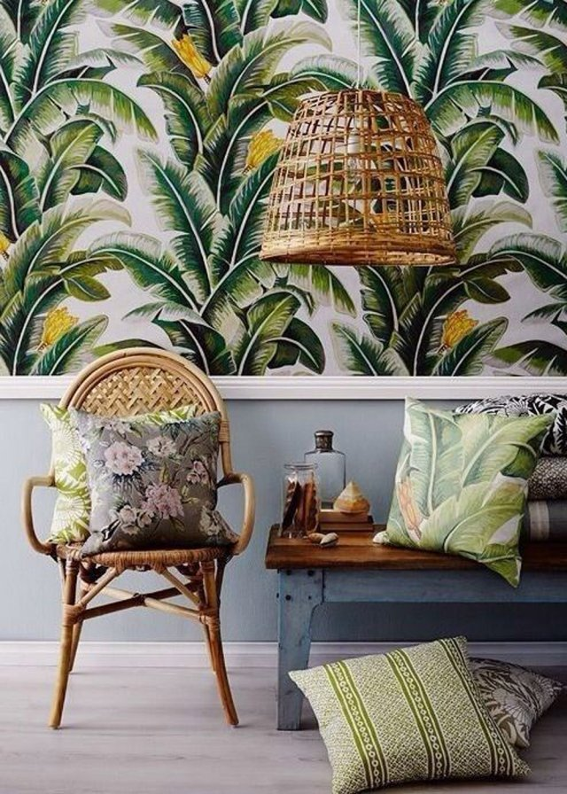 tropical-printed-wallpaper-2 The 15 Newest Interior Design Ideas for Your Home in 2017