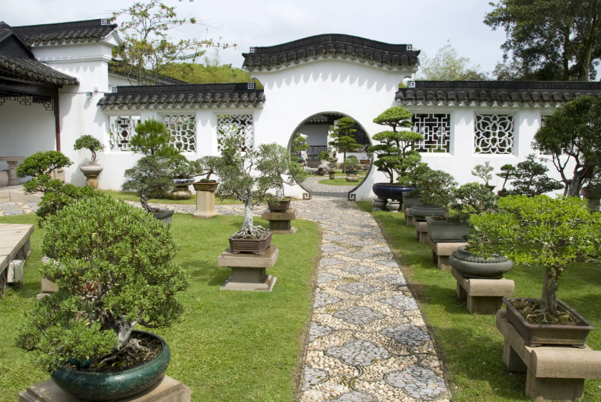 Here is a stunning Japanese style garden. The space is organized but the lines are still organic and have a natural feel.