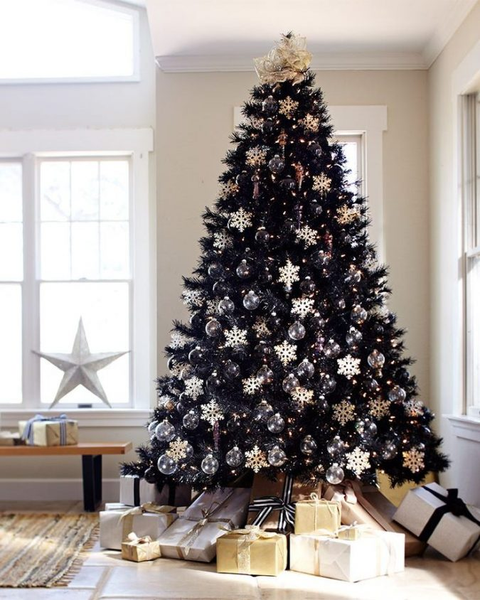black-christmas-trees-with-white-and-gold-decoration-675x844 Top 10 Christmas Decoration Ideas & Trends 2018