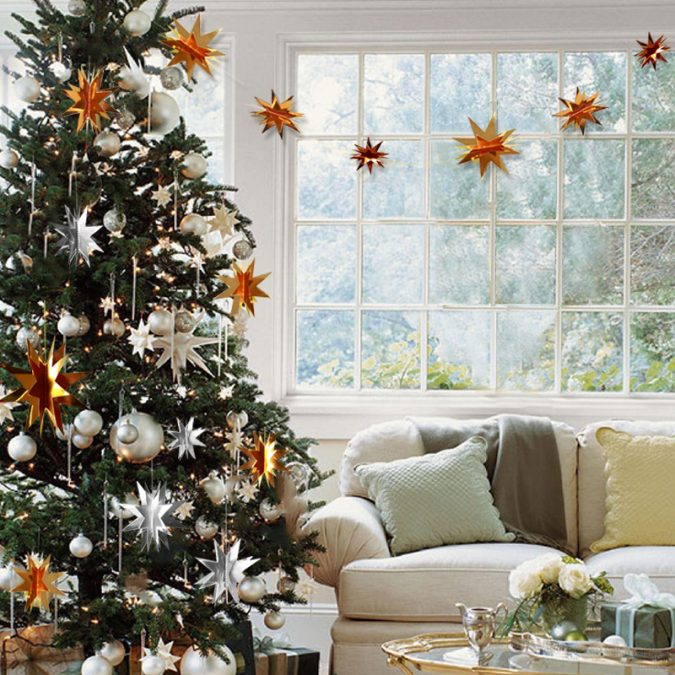 Christmas-tree-with-3D-stars-675x675 Top 10 Christmas Decoration Ideas & Trends 2018