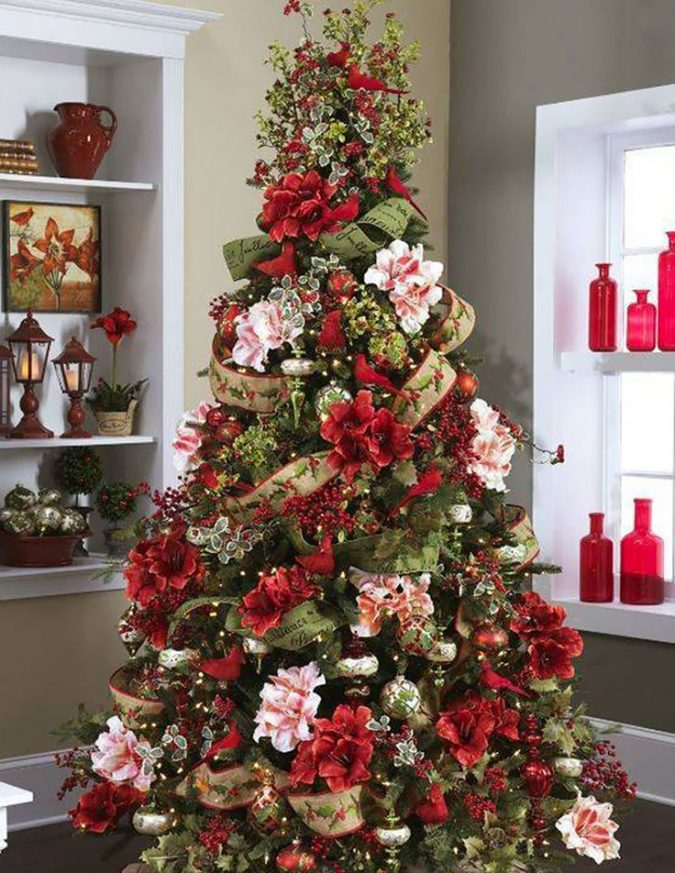 floral-christmas-tree-3-675x873 Top 10 Christmas Decoration Ideas & Trends 2018