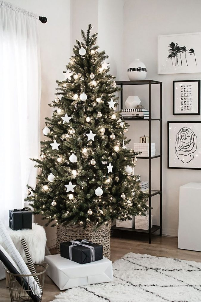 ikea-christmas-tree-with-white-decoration-675x1013 Top 10 Christmas Decoration Ideas & Trends 2018