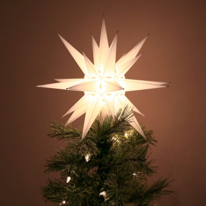 North-Carolina-Moravian-Star-Christmas-Tree-Topper-Light-675x675 Top 10 Christmas Decoration Ideas & Trends 2018
