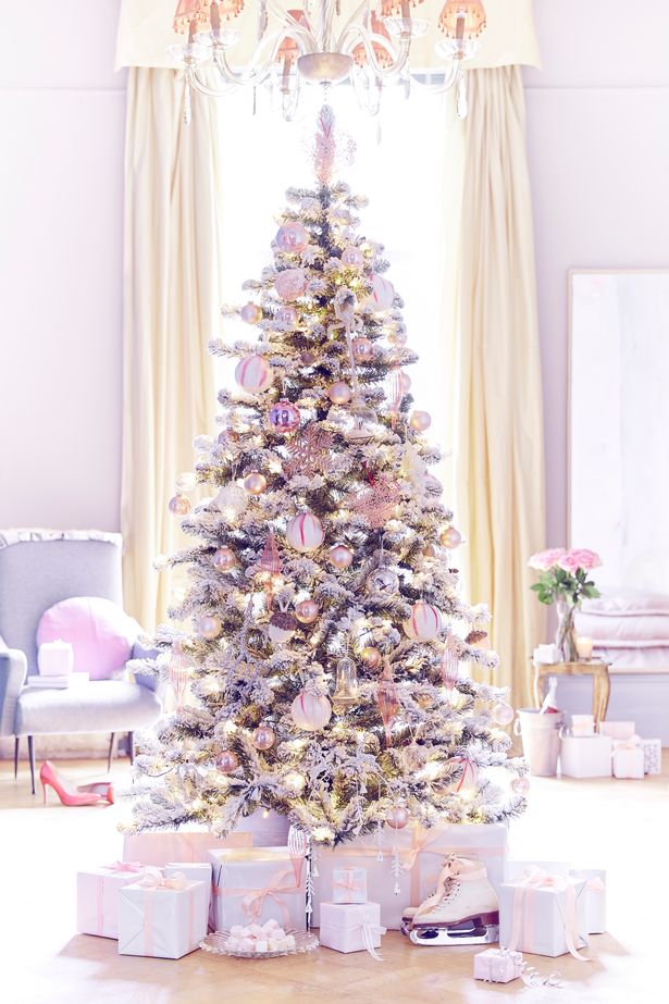 White Christmas Tree With Pink And Purple