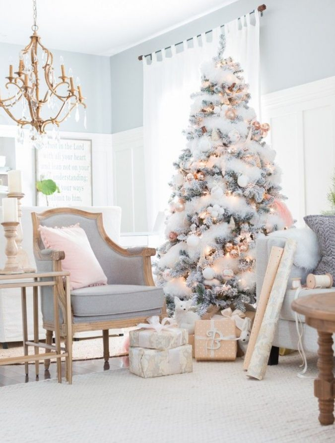 White-Christmas-tree-with-pink-decoration-675x893 Top 10 Christmas Decoration Ideas & Trends 2018