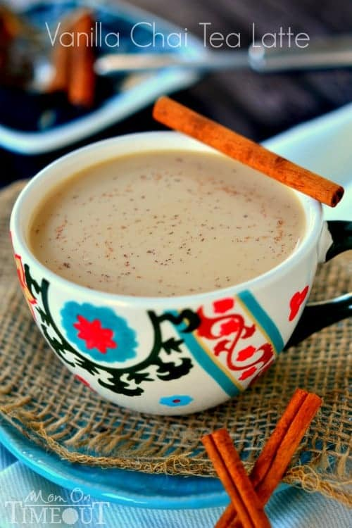 Comfort in a cup! Now you can make your own Vanilla Chai Tea Latte at home!   MomOnTimeout.com   #beverage #drink #recipe