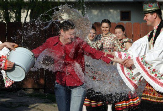 Splashing water on one another is another Polish Easter tradition called Smingus-Dyngus.