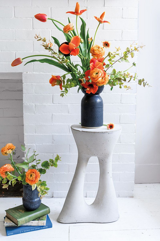 Black and Blue and Green and Orange and White Flowers
