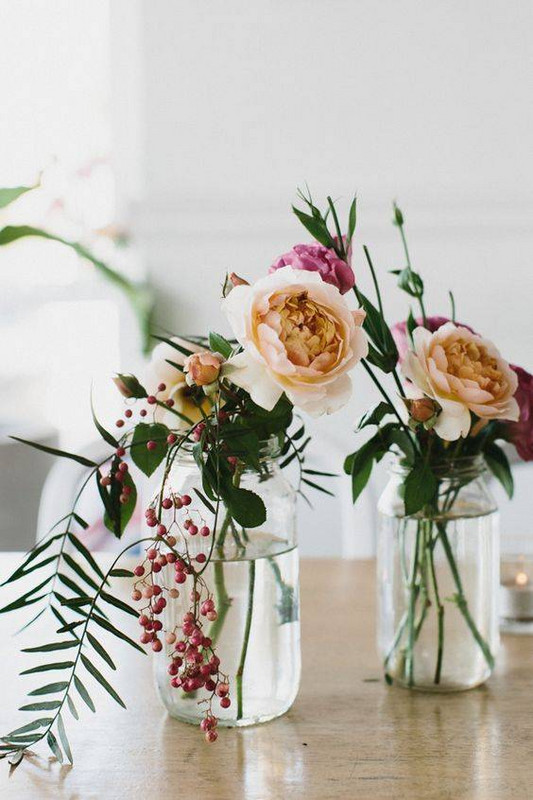Spring Flower Arrangements english rose in a mason jar