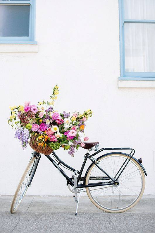 Spring Flower Arrangements flowers in a bike basket